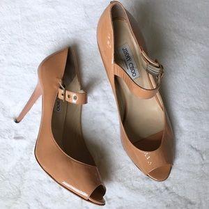 Jimmy Choo beige leather Mary Jane pumps